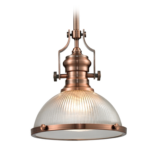 Elk Lighting Pendant Light with Clear Glass in Antique Copper Finish 66543-1