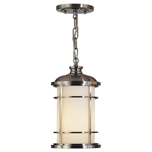 Feiss Lighting Outdoor Hanging Light with White Glass in Brushed Steel Finish OL2209BS
