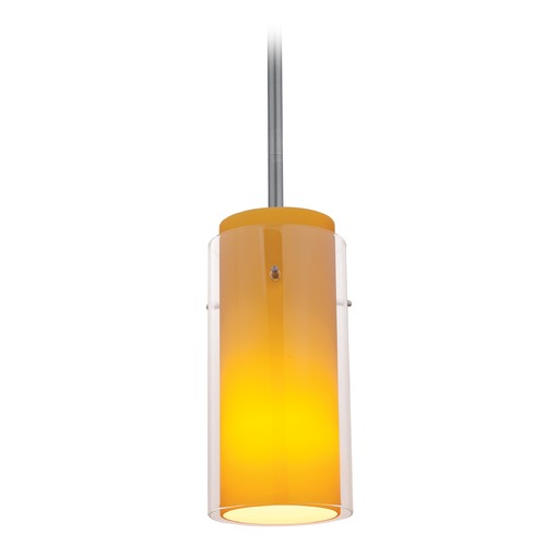 Access Lighting Access Lighting Glass`n Glass Cylinder Brushed Steel Mini-Pendant Light with Cylindrical Shade 28033-3R-BS/CLAM