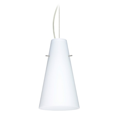Besa Lighting Besa Lighting Cierro Satin Nickel LED Mini-Pendant Light with Conical Shade 1KX-412407-LED-SN
