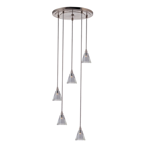 Hudson Valley Lighting Modern Multi-Light Pendant Light with Clear Glass and 5-Lights 3615-SN-S-003