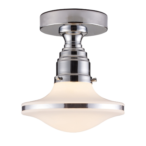 Elk Lighting Modern Semi-Flushmount Light with White Glass in Polished Chrome Finish 17053/1
