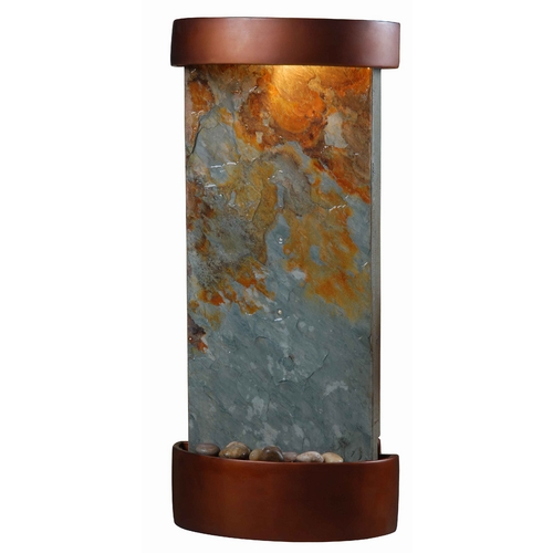 Kenroy Home Lighting Modern Indoor Fountain in Natural Slate with Copper Finish Accents Finish 53238SL