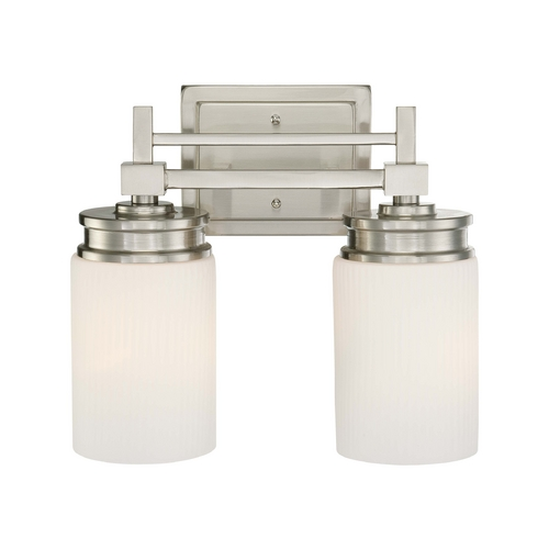 Nuvo Lighting Modern Bathroom Light with White Glass in Brushed Nickel Finish 60/4702