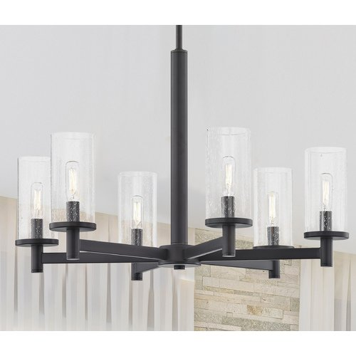 Design Classics Lighting 6-Light Modern Chandelier Seeded Glass Bronze 2956-220