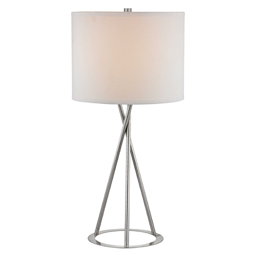 Design Classics Lighting 27-Inch Modern Tripod Table Lamp with White Linen Barrel Shade 1930-09