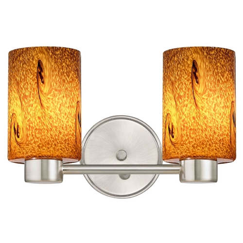 Design Classics Lighting Aon Fuse Art Glass Satin Nickel Bathroom Light with Cylinder Glass 1802-09 GL1001C