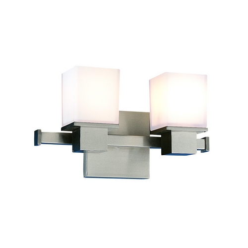 Hudson Valley Lighting Modern Bathroom Light with White Glass in Satin Nickel Finish 4442-SN