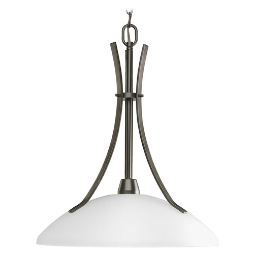 Progress Lighting Progress Pendant Light with White Glass in Antique Bronze Finish P5112-20