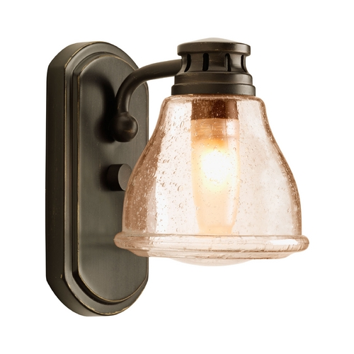 Progress Lighting Umber Etched Seeded Glass Sconce Bronze Progress Lighting P2810-20WB
