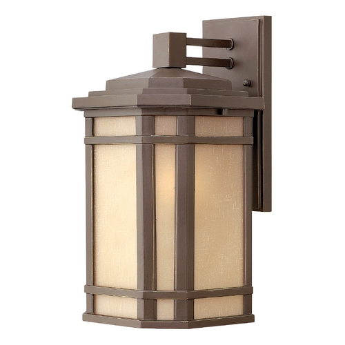 Hinkley Lighting Outdoor Wall Light with Amber Glass in Oil Rubbed Bronze Finish 1274OZ