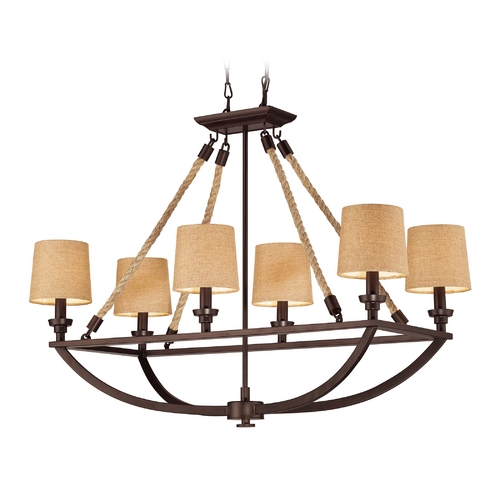 Elk Lighting Chandelier with Brown Shades in Aged Bronze Finish 63019-6