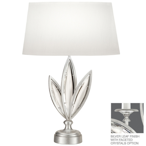 Fine Art Lamps Fine Art Lamps Marquise Platinized Silver Leaf Table Lamp with Oval Shade 850010-12ST