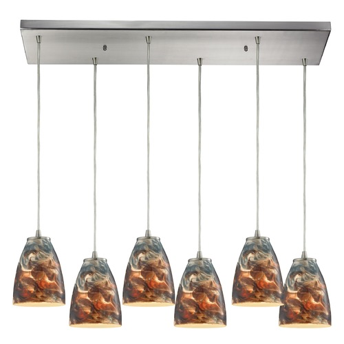 Elk Lighting Elk Lighting Abstractions Satin Nickel Multi-Light Pendant with Bowl / Dome Shade 10460/6RC-CS