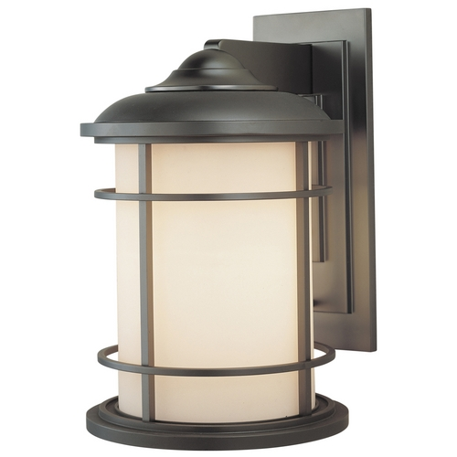 Feiss Lighting Outdoor Wall Light with White Glass in Burnished Bronze Finish OL2202BB