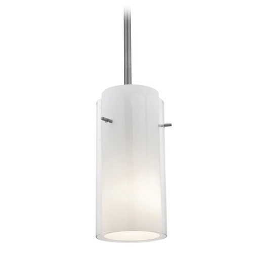 Access Lighting Access Lighting Glass`n Glass Cylinder Brushed Steel Mini-Pendant Light with Cylindrical Shade 28033-3R-BS/CLOP