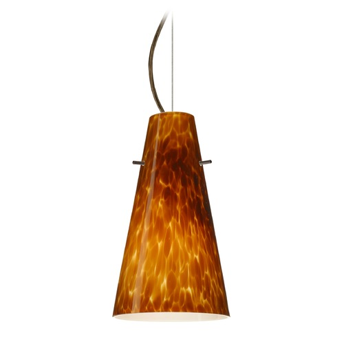 Besa Lighting Besa Lighting Cierro Bronze LED Mini-Pendant Light with Conical Shade 1KX-412418-LED-BR