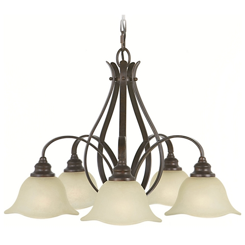 Feiss Lighting Chandelier with Beige / Cream Glass in Grecian Bronze Finish F2050/5GBZ