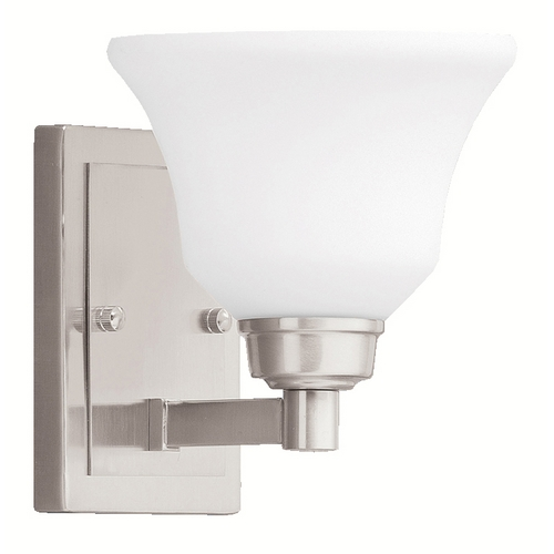 Kichler Lighting Kichler Sconce Wall Light with White Glass in Brushed Nickel Finish 5388NI