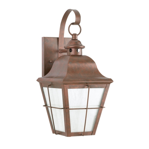 Sea Gull Lighting Outdoor Wall Light with Clear Glass in Weathered Copper Finish 8463D-44