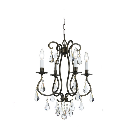 Crystorama Lighting Crystal Mini-Chandelier in English Bronze Finish 5014-EB-CL-MWP