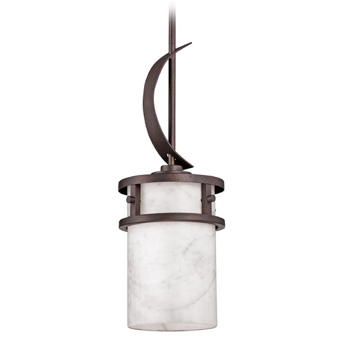 Quoizel Lighting Mini-Pendant Light with Onyx Stone Shade and Curved Band KY1507IN