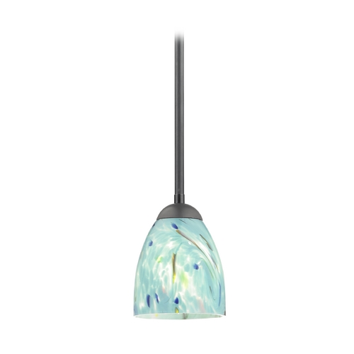 Design Classics Lighting Turquoise Art Glass Mini-Pendant Light in Black with Bell Shade 581-07  GL1021MB