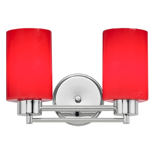 Design Classics Lighting Modern Bathroom Light with Red Glass in Chrome Finish 702-26 GL1008C