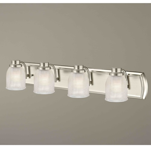 Design Classics Lighting 4-Light Vanity Light with Clear Prismatic Glass in Satin Nickel Finish 1204-09 GL1058-FC