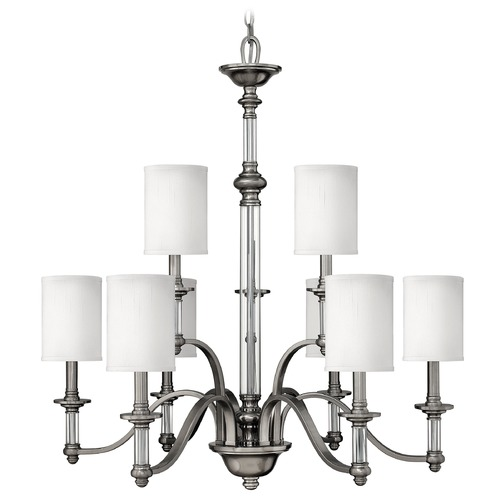 Hinkley Lighting Chandelier with Beige / Cream Shades in Brushed Nickel Finish 4798BN