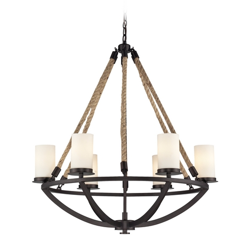 Elk Lighting Chandelier with White Glass in Aged Bronze Finish 63042-6