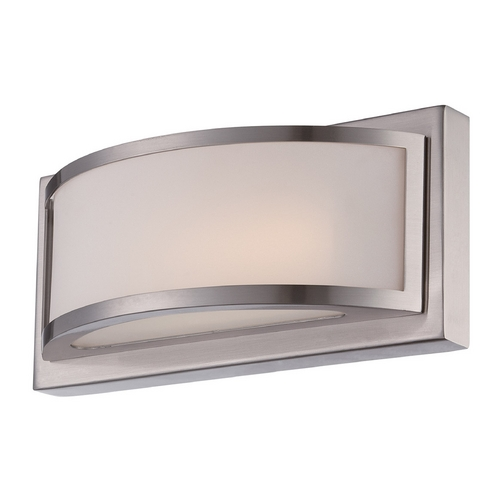 Nuvo Lighting Modern LED Sconce Wall Light with White Glass in Brushed Nickel Finish 62/317