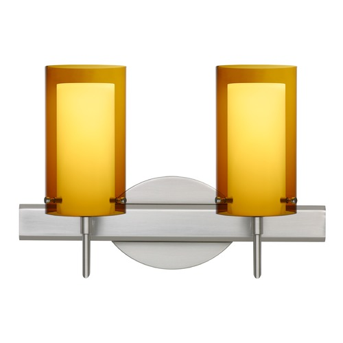 Besa Lighting Besa Lighting Pahu Satin Nickel Bathroom Light 2SW-G44007-SN