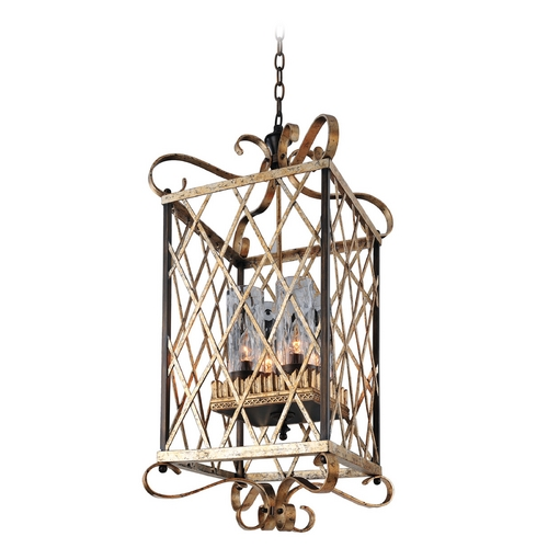 Kalco Lighting Kalco Lighting Trellis Antique Silver Leaf Pendant Light with Cylindrical Shade 6530AF