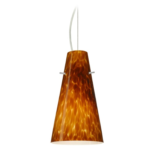 Besa Lighting Besa Lighting Cierro Satin Nickel LED Mini-Pendant Light with Conical Shade 1KX-412418-LED-SN