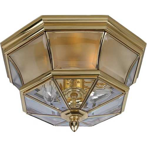 Quoizel Lighting Outdoor Ceiling Light with Clear Glass in Polished Brass Finish NY1794B