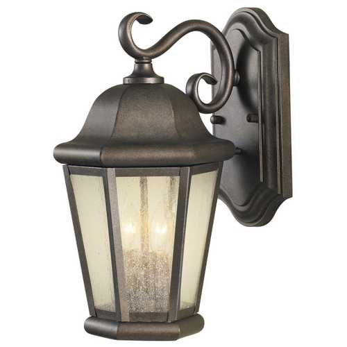 Home Solutions by Feiss Lighting Outdoor Wall Light with Clear Glass in Corinthian Bronze Finish OL5901CB