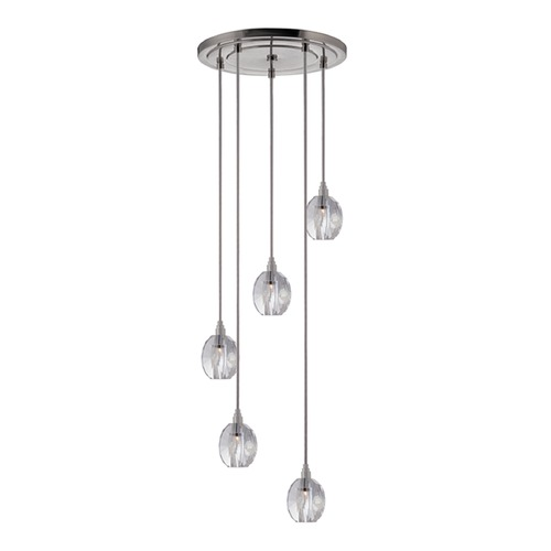 Hudson Valley Lighting Naples Satin Nickel Multi-Light Pendant with Bowl Shade 3615-SN-S-005