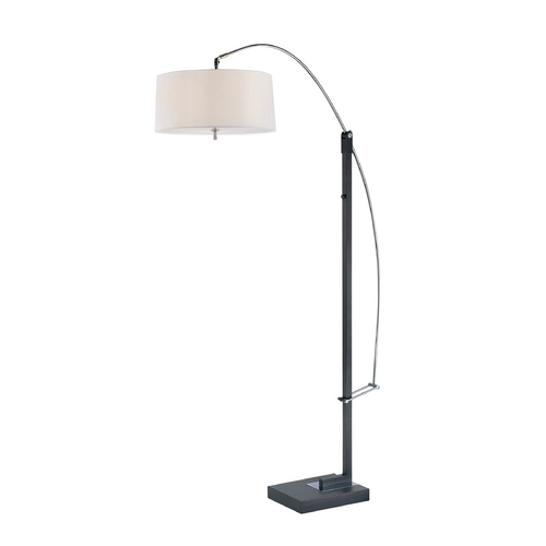 Lite Source Lighting Modern Arc Lamp with White Shade in Black Finish LS-81561BLK/WHT