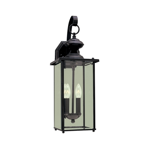 Sea Gull Lighting Outdoor Wall Light with Clear Glass in Black Finish 8468-12