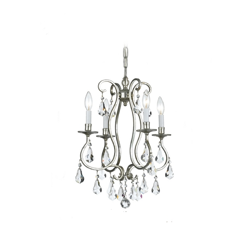 Crystorama Lighting Crystal Mini-Chandelier in Old Silver Finish 5014-OS-CL-MWP