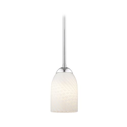 Design Classics Lighting Contemporary Mini-Pendant Light with White Art Glass Shade 581-26 GL1020D