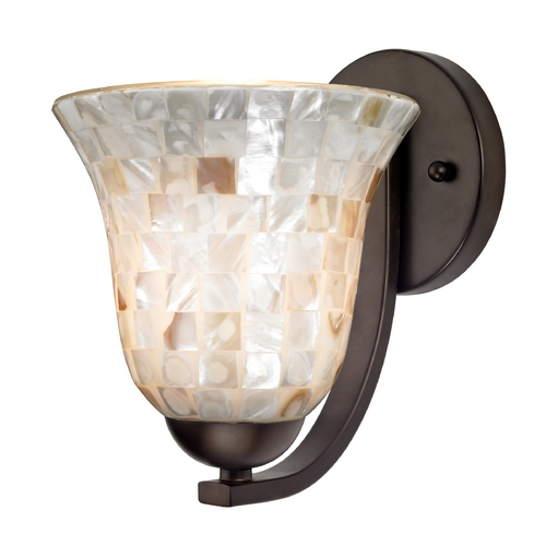 Design Classics Lighting Sconce with Mosaic Glass in Bronze Finish 585-220 GL9222-M