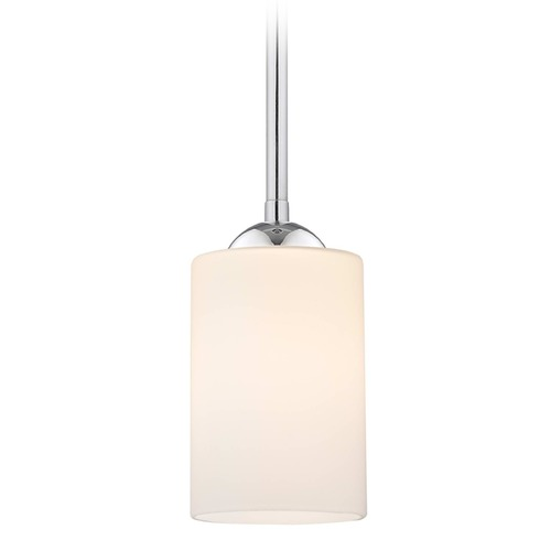 Design Classics Lighting Design Classics Gala Fuse Chrome LED Mini-Pendant Light with Cylindrical Shade 681-26 GL1028C