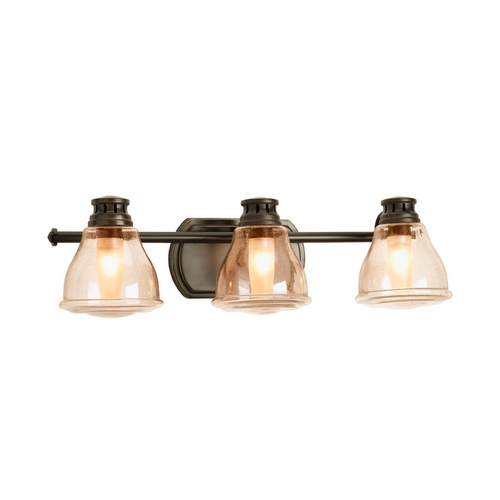 Progress Lighting Progress Bathroom Light with Brown Glass in Antique Bronze Finish P2812-20WB