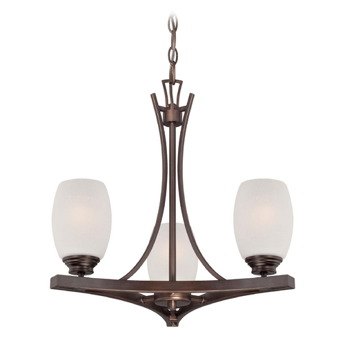 Minka Lavery Mini-Chandelier with White Glass in Dark Brushed Bronze Finish 4953-267B