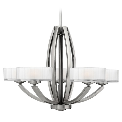 Hinkley Lighting Chandelier with White Glass in Brushed Nickel Finish 3875BN