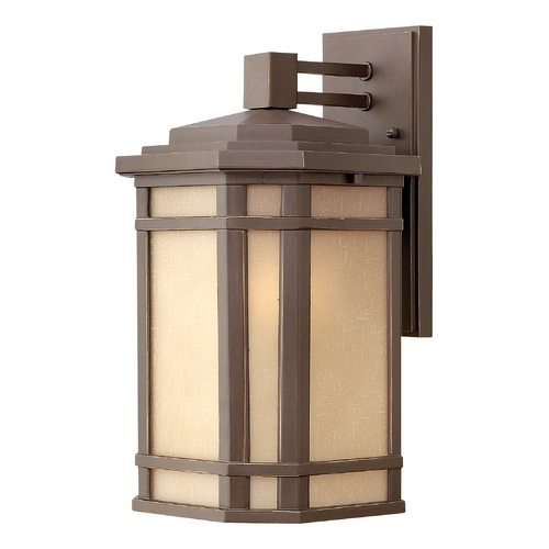 Hinkley Lighting LED Outdoor Wall Light with Amber Glass in Oil Rubbed Bronze Finish 1274OZ-LED