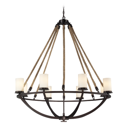 Elk Lighting Chandelier with White Glass in Aged Bronze Finish 63043-8