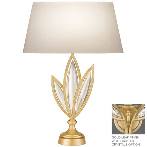 Fine Art Lamps Fine Art Lamps Marquise Florentine Brushed Gold Leaf Table Lamp with Oval Shade 850010-22ST